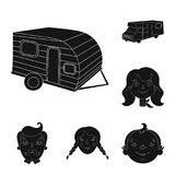 Family holiday black icons in set collection for design. Recreation and equipment. vector symbol stock web illustration. Family holiday black icons in set Royalty Free Stock Image