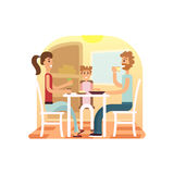 Family holiday cartoon concepts. Family dinner set. Mom, dad, daughter at dinner. Vector flat illustration. Stock Photography