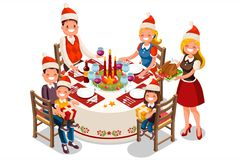 Family Holiday Dinner Party Illustration. Holiday dinner party illustration. 3D flat isometric people family vector cartoon characters Stock Photography