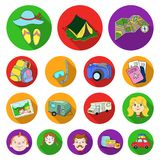 Family holiday flat icons in set collection for design.. Recreation and equipment. vector symbol stock  illustration Stock Photos