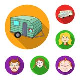 Family holiday flat icons in set collection for design. Recreation and equipment. vector symbol stock web illustration. Family holiday flat icons in set Stock Photography