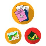 Family holiday flat icons in set collection for design. Recreation and equipment. vector symbol stock web illustration. Family holiday flat icons in set Royalty Free Stock Images