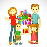 Family with Holiday Gift Stock Images