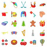 Family holiday icons set, cartoon style. Family holiday icons set. Cartoon set of 25 family holiday icons for web isolated on white background Stock Photos