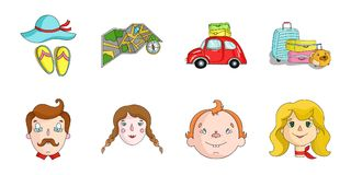 Family holiday icons in set collection for design  Royalty Free Stock Image