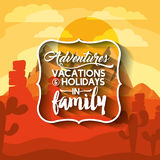 Family holiday message with landscape background  icon d Royalty Free Stock Images