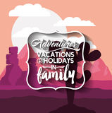 Family holiday message with landscape background  icon d Stock Photo
