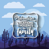 Family holiday message with landscape background  icon d Royalty Free Stock Image