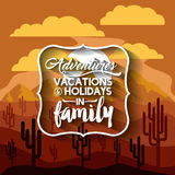 Family holiday message with landscape background  icon d Stock Images