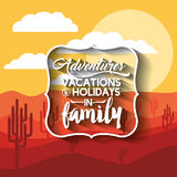 Family holiday message with landscape background  icon d Royalty Free Stock Photos