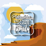 Family holiday message with landscape background  icon d Royalty Free Stock Photography