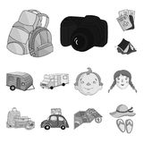 Family holiday monochrome icons in set collection for design. Recreation and equipment. vector symbol stock web. Family holiday monochrome icons in set Royalty Free Stock Photos