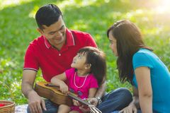 Family holiday at the park stock photography
