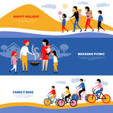 Family Holiday Picnic 3 Banners Set Stock Photo