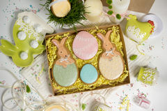 Family holiday present box , easter honey-cakes, celebration spring design Royalty Free Stock Images