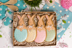 Family holiday present box, gift card,  easter rabbits honey-cake Stock Photos
