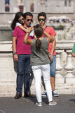 Family holiday in Rome. Taking a picture. Summer time. Stock Photos