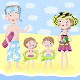 Family on holiday by the sea. Family weekend. Family going to swim in the sea stock illustration