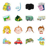 Family holiday set icons in cartoon style. Big collection of family holiday vector symbol stock illustration Stock Image