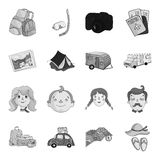 Family holiday set icons in monochrome style. Big collection of family holiday vector symbol stock illustration Stock Images