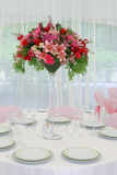 Family holiday, wedding. The wedding table decorated by pink colors and flowers Stock Photo