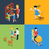 Family holiday weekend mom daughter flat 3d isometric vector Royalty Free Stock Photos