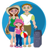 Family holidays. Family with luggage and ready to holidays Royalty Free Stock Photos
