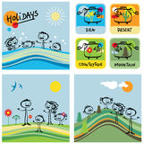 Family and holidays. Designed cartoon characters, family and holidays Royalty Free Stock Images