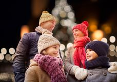 Happy family outdoors at christmas eve royalty free stock photos