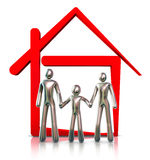 Family At Home. Family and red house on a white background. 3d Royalty Free Stock Photos