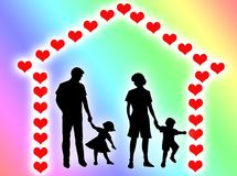Family at home. Happy family at home with a hearts frame Stock Illustration