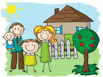 Family at home. Happy family near their house. EPS8 without transparent and gradients, easy to edit vector illustration