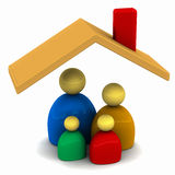 Family home. Housing concept with family shown under roof of a house, 3d concept with mother father and children Stock Images