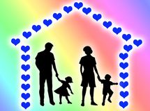 Family at home. Happy family at home made of hearts vector illustration