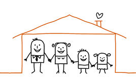 Family & home. Vector hand drawn characters line Stock Photography