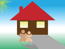 Family home. Concept illustration of an family home Stock Images