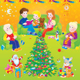 Family at home on Christmas. The whole family in a decorated room on Christmas Royalty Free Stock Images