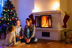 Family at home on Christmas eve Royalty Free Stock Photo