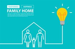 Family home concept with creative light bulb idea Stock Images