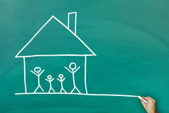 Family at home concept. On green blackboard royalty free stock photos
