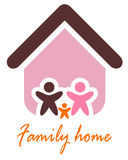 Family and home concept. Silhouette family icon and house. Vector illustration Royalty Free Stock Photography