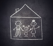 Family and home are drawn with chalk on a blackboard Royalty Free Stock Photos