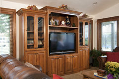 Family Home Entertainment Center. Huge custom family home entertainment center with glass doors, shelving and cabinets Royalty Free Stock Photography