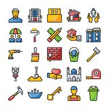 Family And Home Flat Icons royalty free illustration