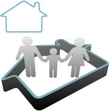 Family at Home in the House Symbol. Put a family into a home - 3D symbol people stand safe inside a house outline Stock Photos