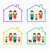 Family home icons set Royalty Free Stock Image