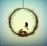 Family home idea, wreath of thebranches with nest and two birds inside, sweet home, spring inside idea, nature stock illustration
