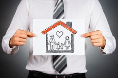 Family and home insurance concept. stock images