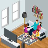 Family Home Isometric Composition royalty free illustration