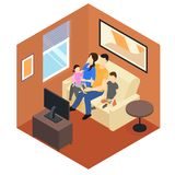 Family At Home Isometric Design Stock Image